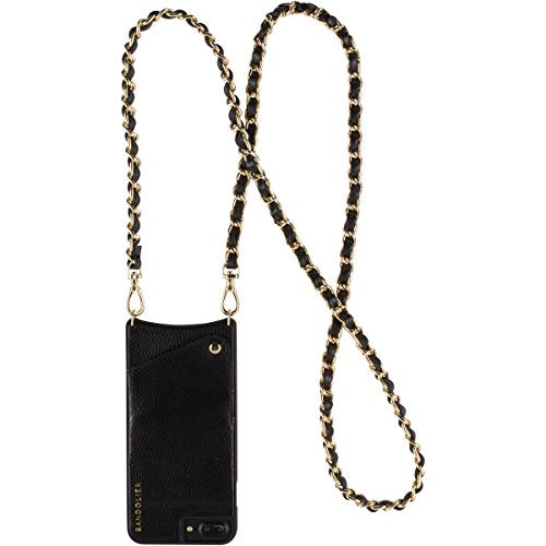 iPhone Case For 8, 7 & 6 Only - Luxury Black Authentic Leather Women Wallet Gold Hardware PhoneCase. Cross-Body Strap Cell Cover for ID & Credit Cards. Phone Purse Carry Handsfree Libby by Bandolier.