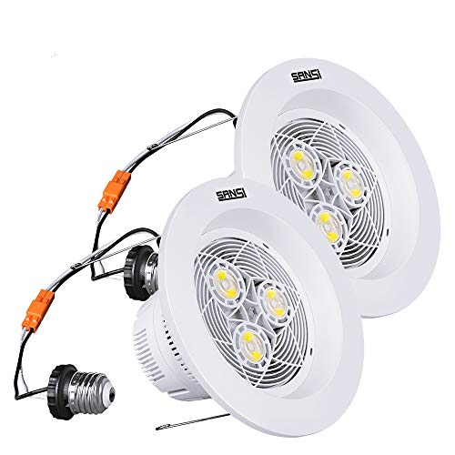 6 inch LED Recessed Lighting, 15W (150W Equiv.) 1800lm, 4000K Natural White Daylight, LED Recessed Downlight, Non-Dimmable LED Recessed Lights, Energy Saving, LED Retrofit Lighting, 2 Pack, SANSI
