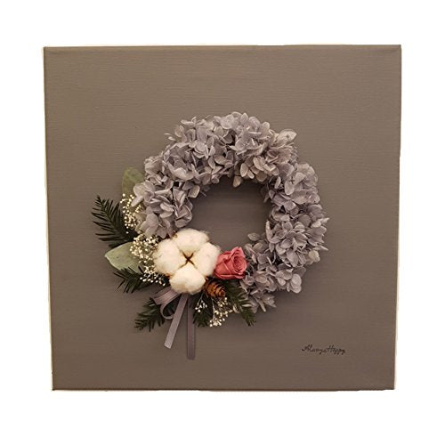 "VELY Preserved Flower Canvas Wall Art, Cotton Wreath Wall Art, Flower Art , 11.81"" Inch"