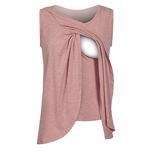9092260a5acd ILUCI Mom Maternity Nursing Tops Solid T-Shirt with Easy Breastfeeding  Openings Pregnant Short Sleeve