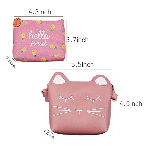 47bae241fa40 SOTOGO Little Girls Purses Pink Cute Cat Shoulder Crossbody Bag with 1 Pink  Coin Purse for