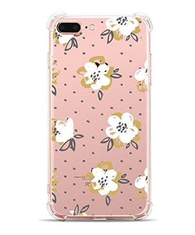 iPhone 7 Plus, iPhone 8 Plus,Hepix Floral Blooms Garden Pattern Printed Clear Design Transparent Plastic Case with TPU Bumper Protective Case Cover for iPhone 7 Plus (2016)/iPhone 8 Plus(2017)