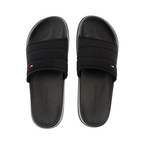 Tommy Hilfiger Corporate Pool Slide - Black (Man-Made) Mens Sandals 43/44 EU