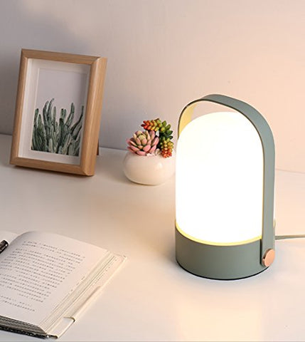 Simple Cute Practical Style Bedside Table Lamp with Celadon Base and Glass Shade for Bedroom, Dressing Table, Living Room, Baby Room, College Dormitory, Coffee Table, Bookcase, Celadon