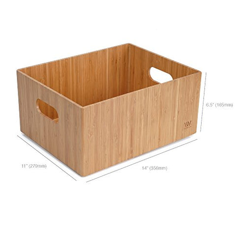 "Bamboo Storage Box Multi-Purpose Organizer for Kitchen Supplies Holder, Fruit Bin, Cabinets, Pantry with built in handles, stackable, 14"" x 11"" x 6.5"""