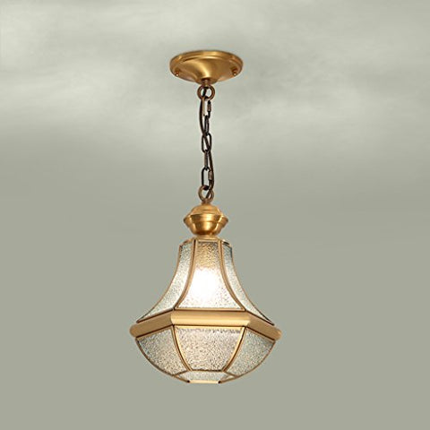 Chandelier Single Hanging Lamp, Full Copper Glass Restaurant Balcony Aisle Ceiling Corridor