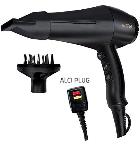 Professional Hair Dryer with Diffuser and Concentrator - Tourmaline Technology and Ceramic Coated Grill - Cool Shot Feature - Speed and Heat Adjustment - ALCI Plug - by Utopia Home