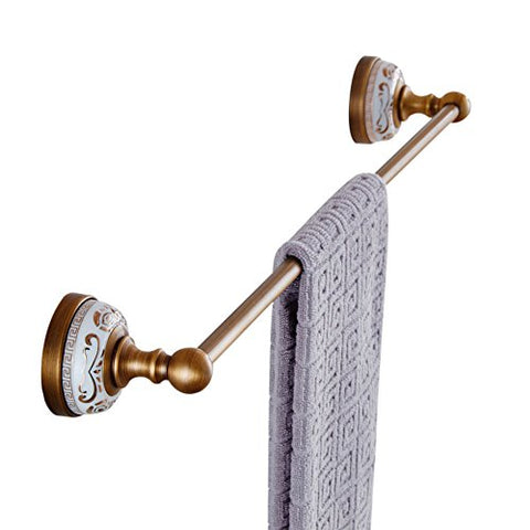 WINCASE European Antique Copper Gold-Plated Single Towel Bar Golden Towel Racks Wall Mounted White Porcelain Metal Pendants Bathroom Hardware Pendant Antique White Porcelain Single Pole Towel Rack