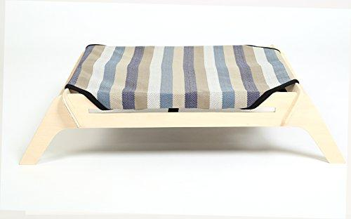 [OVERSTOCK SALE] PLS Pet Wooden Elevated Dog Bed, Extra Large, Plaid  Canvas, Raised Dog Bed off the Ground, Natural Plywood Frame, Pet Cot