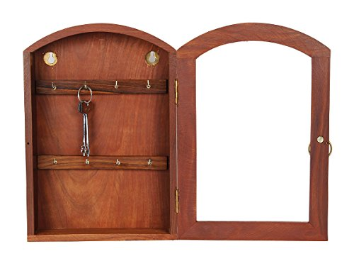 Store Indya Wall Mount Rustic Handcrafted Key Guard Sheesham Wood Key  Cabinet Box With 8 Hooks