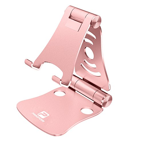 [3 in 1] Portable Foldable Adjustable Cell Phone Stand Tablet Stand Laptop Stand: Pasonomi Aluminum Stand for iPhone, iPad, Samsung Tab, Tablet, Macbook, Accessories Desk (Rose Gold)