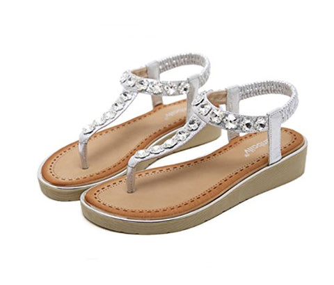 Ruanlei@Summer Sandals/Beach Sandals for Women/Flat Sandals/Sandals Pearls/Wedge Dress SandalsThe water drilling beaded slopes with clips, gold, 36