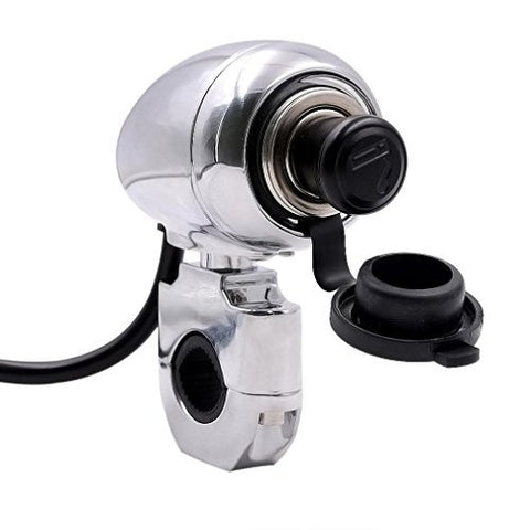 Usstore 12V Motorcycle Handlebar Cigarette lighter Mount Marine Volt Power Outlet (Silver)