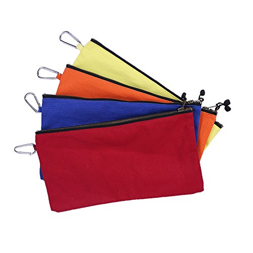 Canvas Tool Bags with Handy Carabiner Clip Waist Pack Utility Bags Multi Purpose Sockets Tool Organizer Bag Heavy Duty Smart Storage Pouches Best for Handymen Repairmen Woodworker HGJ02-C-US