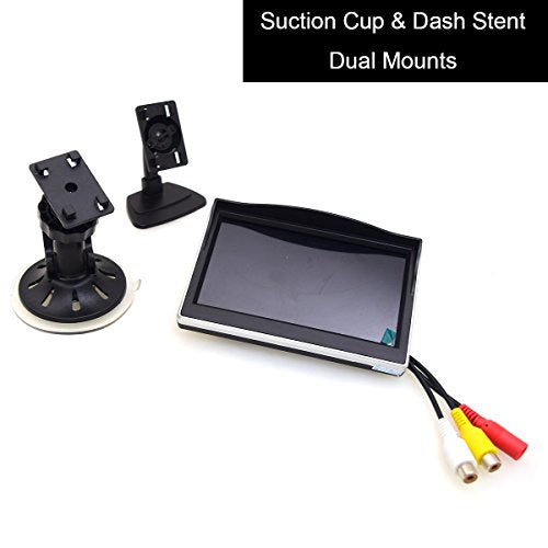 "5"" Car Monitor, E-KYLIN 12-24V Wide Input Truck/In-Car TFT LCD Screen Suction Cup & Dash Stand Dual Mounting Bracket 2 RCA Channel for Backup Camera/Rear view/DVD/Media Player"