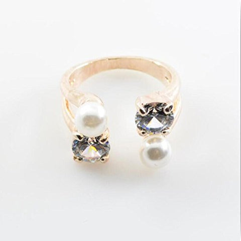 Beuu Women Adjustable Ladies Diamond And Pearl Rings Opening Crystal Ring (Gold)