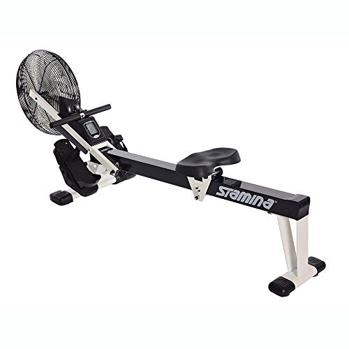 Stamina Cardio Exercise Foldable Fitness Air Rower Rowing Machine,  Black/White