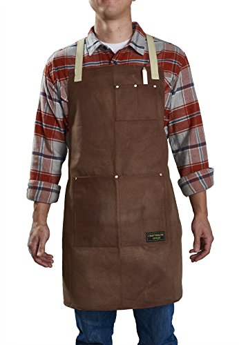 Craftsmans Guild Waxed Canvas Heavy Duty Apron Cotton Straps Utility Tool BBQ Cooking Chefs Cooks Shop Woodworking for Men & Women