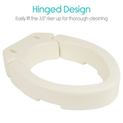 Raised Toilet Seat Riser by Vive - Hinged Seat Lifter for ...