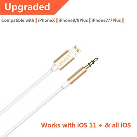 [Upgraded] Lightning to 3.5mm Male Aux Stereo Audio Cable, Compatible with iOS 11 or Above, iPhone 7/7P/8/8P/X or Any Lightning Port to Car Stereo Speakers or Headphone Audio Jack (Gold)