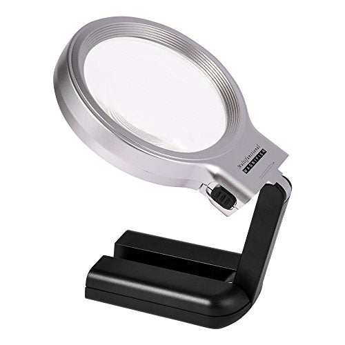 Kadaon LED Lighted Hands Free Magnifying Glass with Light Stand - 3X 5X Large Portable Illuminated Magnifier For Reading, Inspection, Soldering, Needlework, Repair, Hobby & Crafts