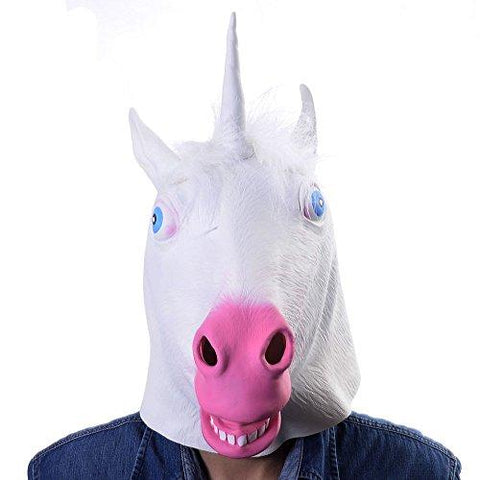 Unicorn Mask White Latex Fun Party Rubber Animal Costume Theater Prop Novelty Cover