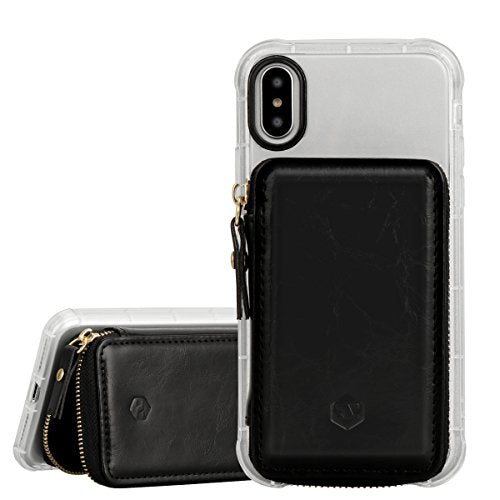 xhorizon SR RFID Blocking Leather Flip Elastic Strap Credit Card Holder Cell Phone Wallet, Large Capacity Stick On Case Attachment Can Hold 10+ Cards for iPhone X 8 7 Galaxy Note8 S8 HUAWEI and Other