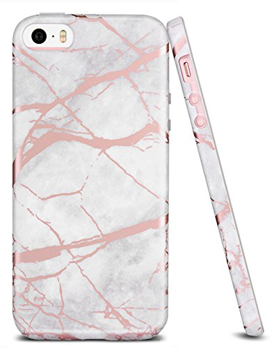 info for de9f0 9a705 iPhone 5S Case, iPhone 5 Case, iPhone SE Case, WORLDMOM Marble Pattern  Shiny Rose Gold Slim TPU Rubber Hybrid Anti-Scratch Shockproof Protective  Case ...