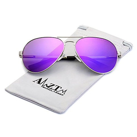 AMZTM Top Quality Driving Shades Classic Eyewear Retro Fashion Double Bridge Metal Frame Mirrored Reflecive REVO Polarized Lens Women And Men Designer Aviator Sunglasses (Silver Frame Purple Lens, 62)