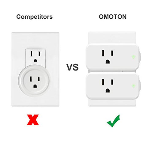 OMOTON Mini Wifi Smart Plug compatible with Amazon Alexa,Google Home, IFTTT, 15A Wireless Socket Outlet Remotely Controls your Devices from anywhere,No Hub Required(Android/IOS) (4 pack)