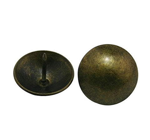 "Generic Round Large-headed Nail 0.95"" Diameter Color Antique Brass for Sofa Decoration Pack of 30"
