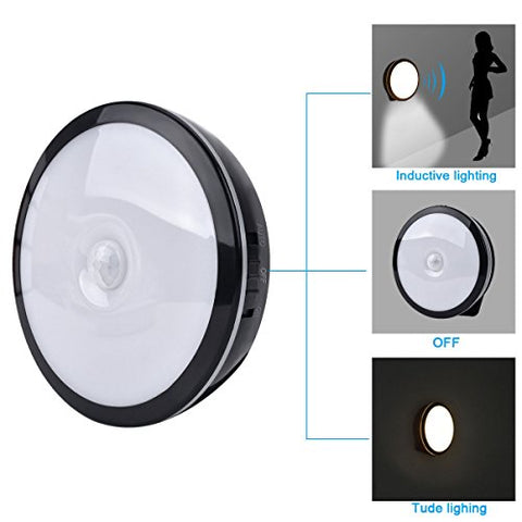 Night Lights-European USB Charging Body Induction Night Light, Built-in Magnetic, Long Battery Life, 3 Switch, Suitable For Bathroom Kitchen Bedroom Bedside Baby Room (white, Round) (Color : Black)
