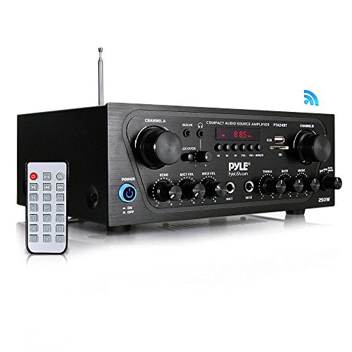 Upgraded 2018 Pyle Wireless Karaoke Bluetooth Stereo Receiver Amplifier - 2 Channel Home Audio Sound Power Amplifier w/ AUX IN, USB,, 2 Microphone Input w/ Echo, Talkover for PA - PTA24BT