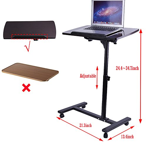 Coldecedar Overbed Bedside Table With Wheels Medical Adjustable Portable  Laptop Notebook Rolling Table Cart Stand Tiltable