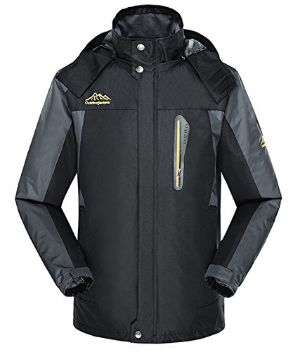 Jeater Men's Hooded Outdoor Hiking Windbreaker Breathable Waterproof Rain Jacket JT6029-Black-Small
