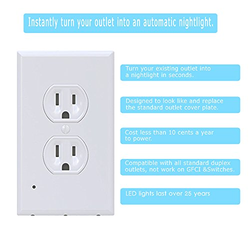 Led Night Light Built In Outlet Wall Plate Cover Nightlight With