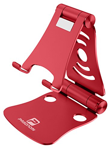 [3 in 1] Portable Foldable Adjustable Cell Phone Stand Tablet Stand Laptop Stand: Pasonomi Aluminum Stand for iPhone, iPad, Samsung Tab, Tablet, Macbook, Accessories Desk (Red)