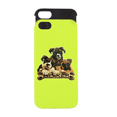 iPhone 5 or 5S Wallet Case Lime and Black Boxer Trio with Bone Name Plate