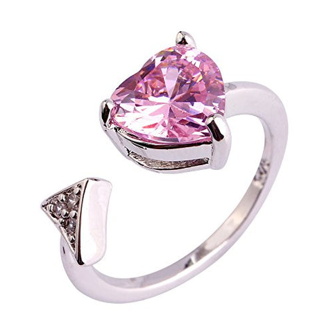 ARIMO Women Rings Cupid Arrow Heart Love Engagement Romantic Pink Topaz Silver 11.0
