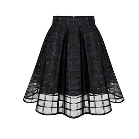 FUNIC Women Organza Skirts High Waist Zipper Ladies Tulle Skirt (Medium, Black)