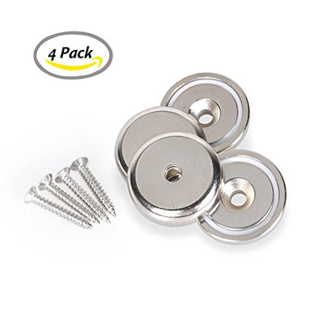 Neodymium Magnets,Strong Industrial Strength Rare Earth Magnets w/ Countersunk Hole,Disc Magnetic Rack for Refrigerator Fridge Garage Kitchen Tool Storage & Organizer,55 LBs Pull Force,4 Pack(N32)