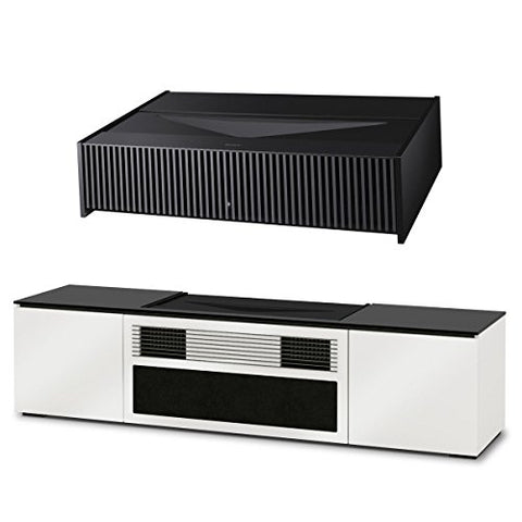 "Sony VPL-VZ1000ES 120"" Ultra-Short Throw 4K HDR Home Theater Projector with Salamander Chameleon Credenza Miami UST Media Cabinet (Gloss White Doors)"