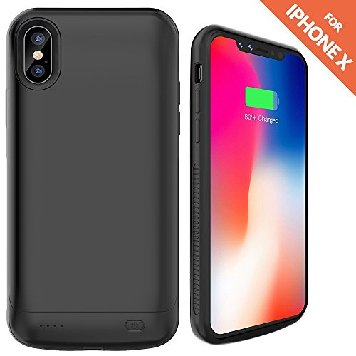 newest 5e039 2ef82 iPhone X Battery Case,Ruky 6000 mAh Rechargeable Extended Battery Charger  Protective Case Power Pack for Apple iPhone X 5.8-inch - (Black