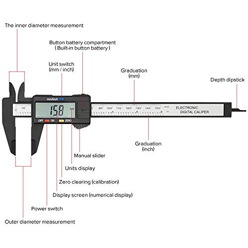 Digital Caliper with Large LCD Screen Plastic Electronic Vernier Caliper  Measuring Tool, 0-6 Inches/0-150 mm Conversion Auto Off Featured, 1 PC  Extra