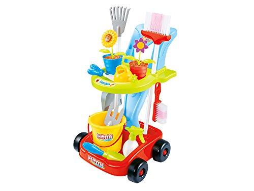 Kids Gardening and Cleaning Tools 24 pcs Toys for Garden and Housekeeping with Leaf Rake, Watering Can, Gardening Hand Cultivator, Trowel,Shovel and Pretend Potted Flower, All in One Gardening Trolley