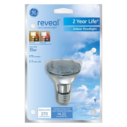 GE Lighting 74869 35-Watt 270-Lumen Track and Recessed PAR20 Halogen Light Bulb, Reveal