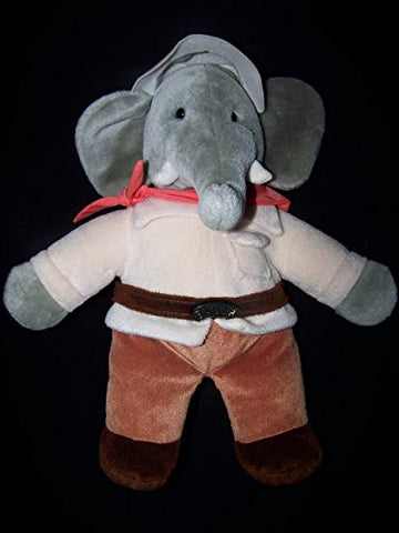 "Vintage Babar Plush Stuffed Elephant 14"", from 1989, With Cream Color Jacket, Orange Scarf"