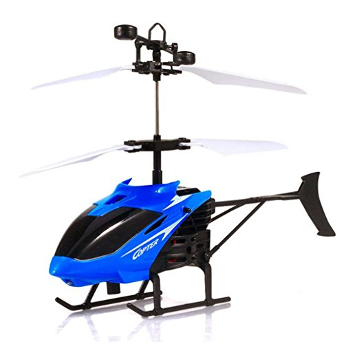 Toys RC Helicopter Sipring Flying Toys For Kids Mini RC Infraed Induction Helicopter Aircraft Flashing Light (Blue)