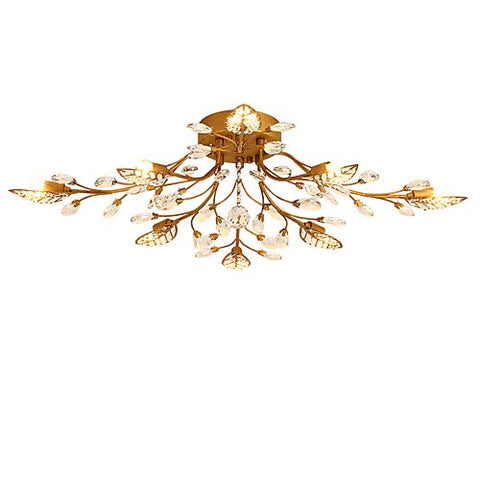 LightInTheBox Crystal Flush Mount Chic & Modern Chandeliers Ceiling Lighting FixtureforKitchen Bedroom Living Room Painting Metal 8-Light G9 40 W Bulb Included/15-20O