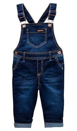 OFFCORSS Toddler Boys Kids Infant Bib Matching Brother Twin Jean Denim Cotton Cute Long Overalls Dungarees With Hooks Overol Para Niños Dark Blue 12 M